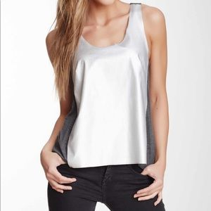 Metallic Faux Leather Front Knit Tank